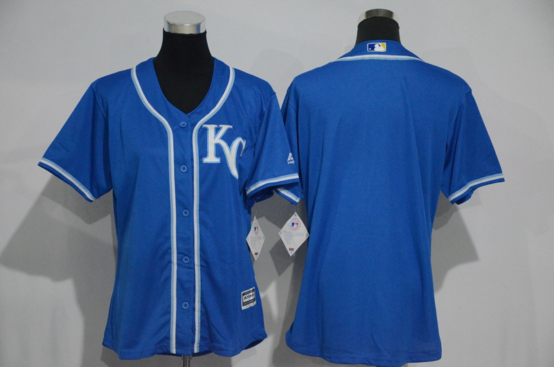 Womens 2017 MLB Kansas City Royals Blank Blue Jerseys