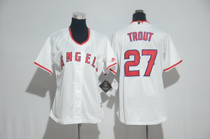 Womens 2017 MLB Los Angeles Angels 27 Trout White Jerseys