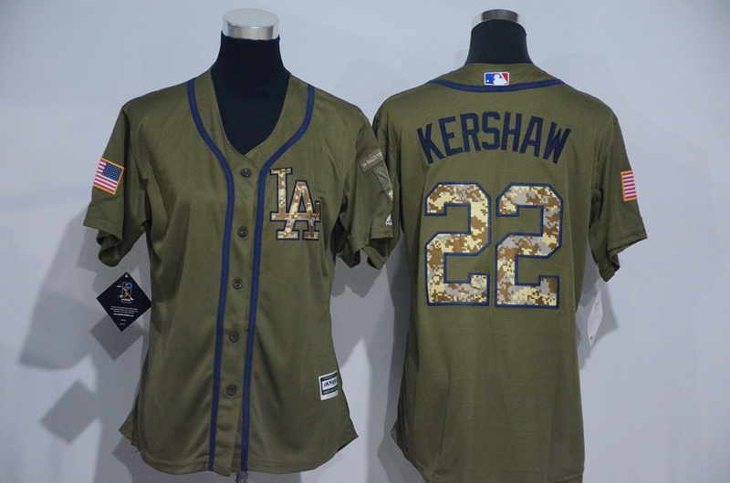 Womens 2017 MLB Los Angeles Dodgers 22 Kershaw Green Salute to Service Stitched Baseball Jersey