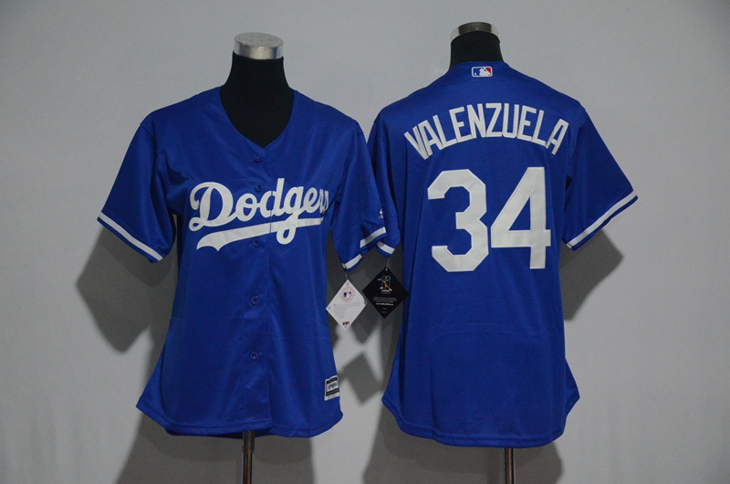 Womens 2017 MLB Los Angeles Dodgers 34 Valenzuela BlueJerseys