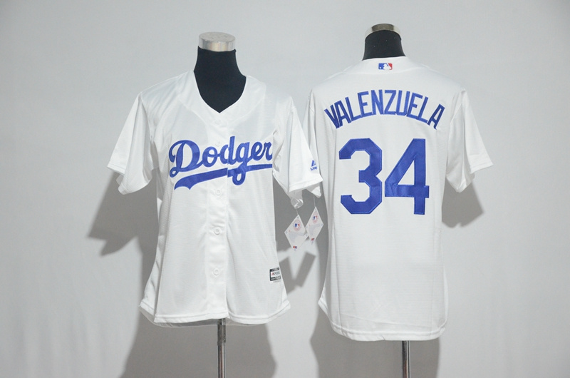 Womens 2017 MLB Los Angeles Dodgers 34 Valenzuela White Jerseys