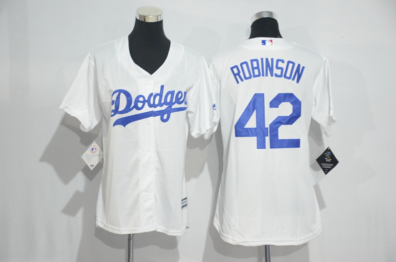 Womens 2017 MLB Los Angeles Dodgers 42 Robinson White Jerseys