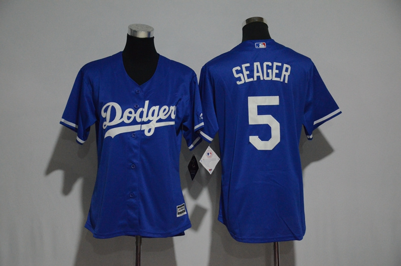 Womens 2017 MLB Los Angeles Dodgers 5 Seager Blue Jerseys