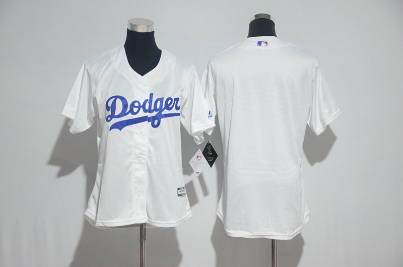 Womens 2017 MLB Los Angeles Dodgers Blank White Jerseys
