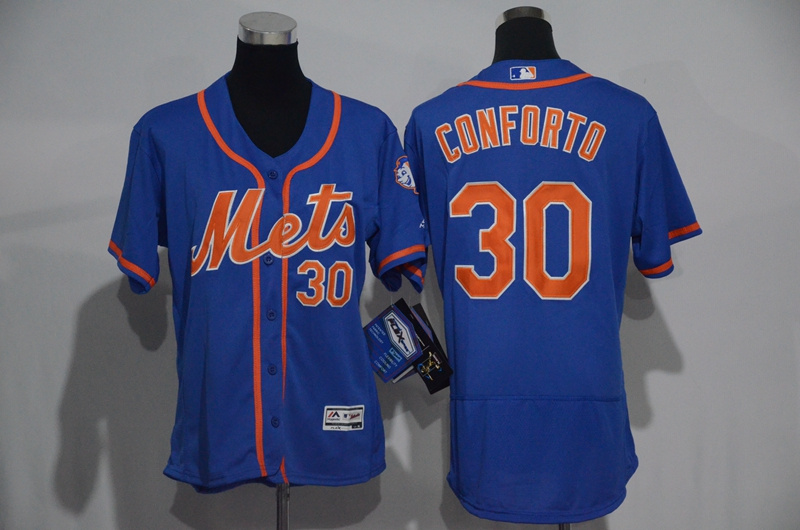 Womens 2017 MLB New York Mets 30 Conforto Blue Elite Jerseys