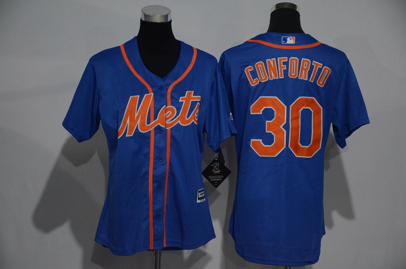 Womens 2017 MLB New York Mets 30 Conforto Blue Jerseys