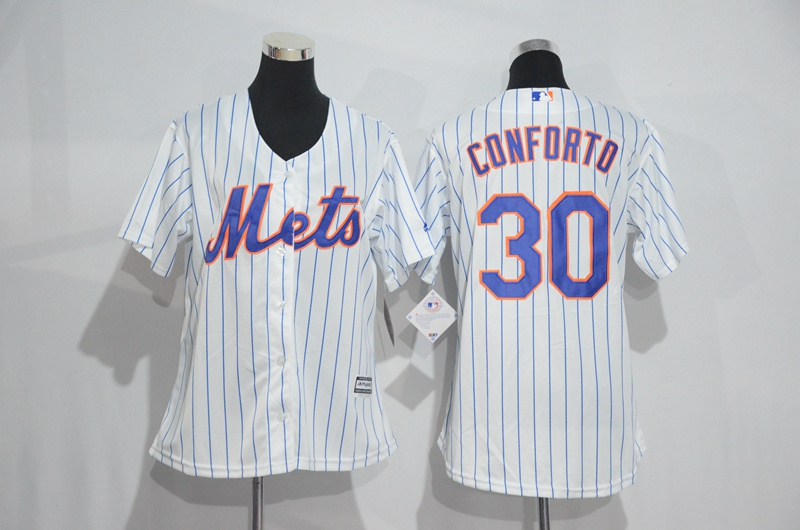Womens 2017 MLB New York Mets 30 Conforto White Jerseys