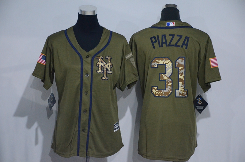 Womens 2017 MLB New York Mets 31 Piazza Green Salute to Service Stitched Baseball Jersey
