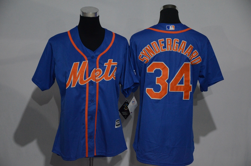 Womens 2017 MLB New York Mets 34 Syndergaard Blue Jerseys
