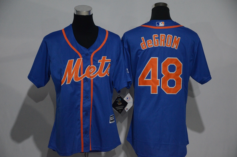 Womens 2017 MLB New York Mets 48 deGrom Blue Jerseys
