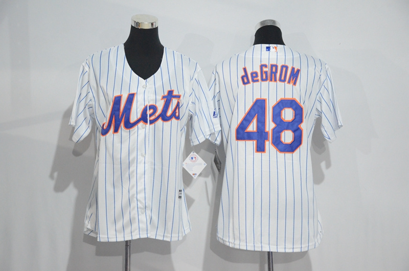 Womens 2017 MLB New York Mets 48 deGrom White Jerseys