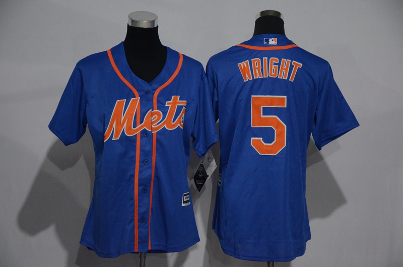 Womens 2017 MLB New York Mets 5 Wright Blue Jerseys