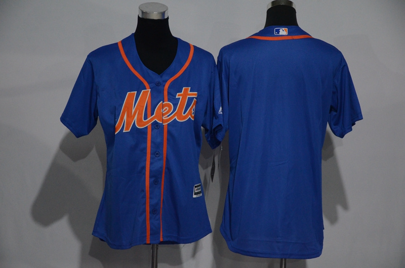 Womens 2017 MLB New York Mets Blank Blue Jerseys