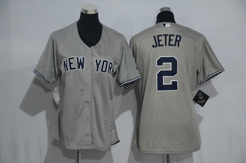 Womens 2017 MLB New York Yankees 2 Jeter Grey Jerseys