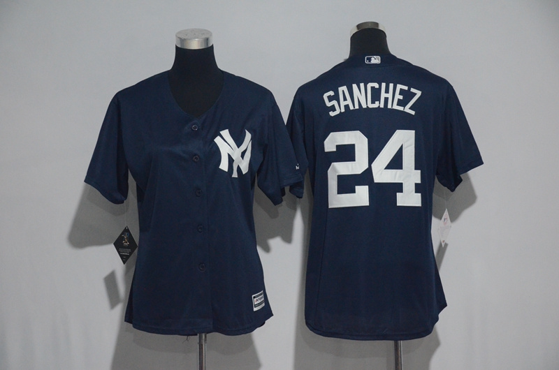Womens 2017 MLB New York Yankees 24 Sanchez Blue Jerseys