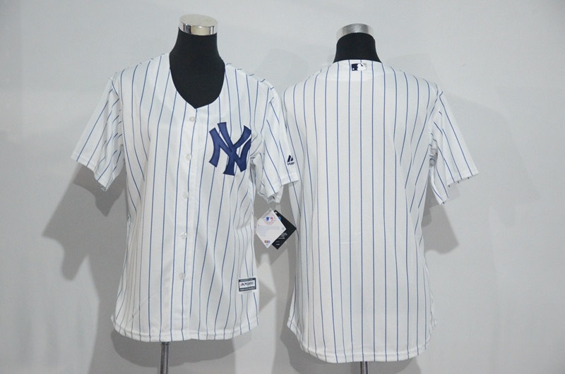 Womens 2017 MLB New York Yankees Blank White Jerseys