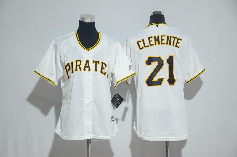 Womens 2017 MLB Pittsburgh Pirates 21 Clemente White Jerseys