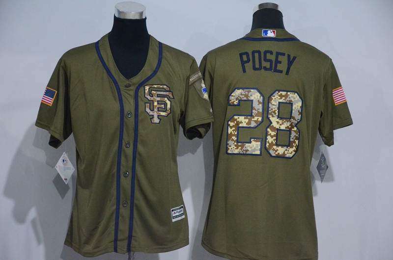 Womens 2017 MLB San Francisco Giants 28 Posey Green Salute to Service Stitched Baseball Jersey
