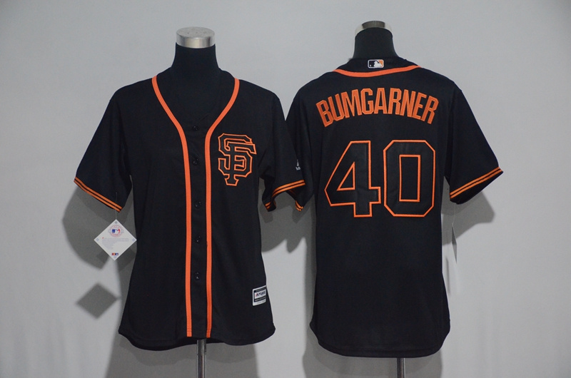 Womens 2017 MLB San Francisco Giants 40 Bumgarner Black Jerseys