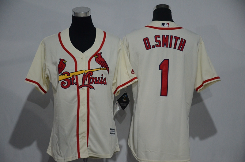 Womens 2017 MLB St. Louis Cardinals 1 O.Smith Cream Jerseys