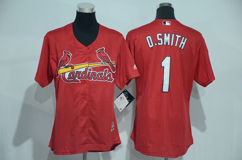 Womens 2017 MLB St. Louis Cardinals 1 O.Smith Red Jerseys