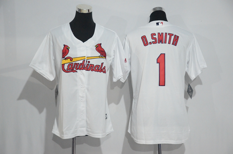 Womens 2017 MLB St. Louis Cardinals 1 O.Smith White Jerseys