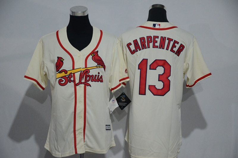 Womens 2017 MLB St. Louis Cardinals 13 Carpenter Cream Jerseys