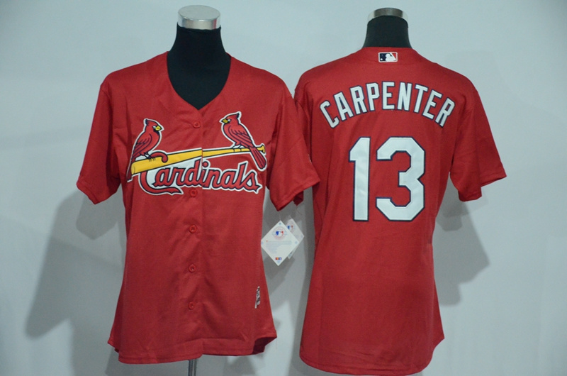 Womens 2017 MLB St. Louis Cardinals 13 Carpenter Red Jerseys