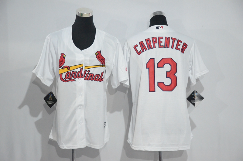 Womens 2017 MLB St. Louis Cardinals 13 Carpenter White Jerseys