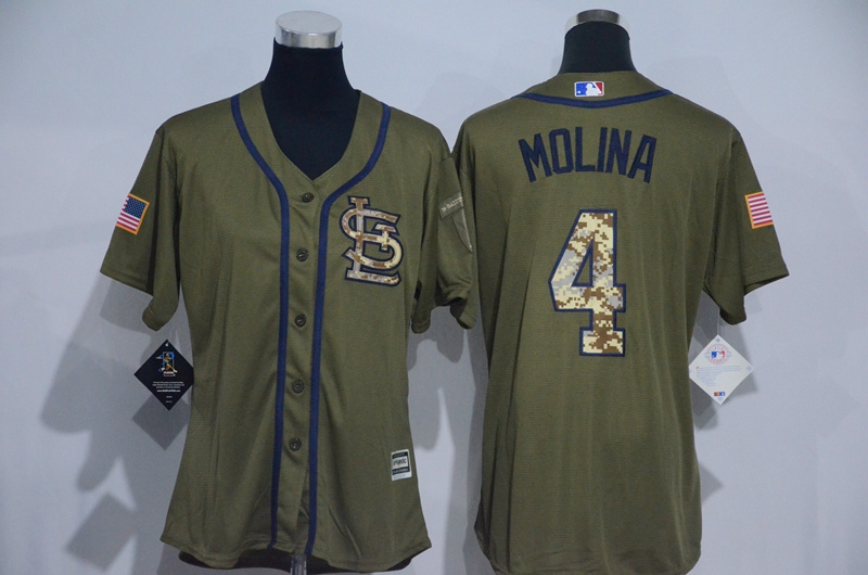 Womens 2017 MLB St. Louis Cardinals 4 Molina Green Salute to Service Stitched Baseball Jersey