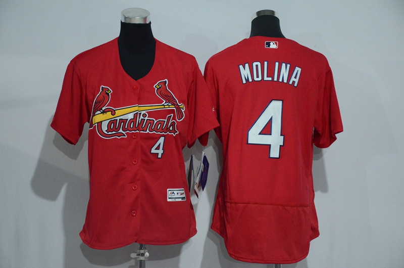 Womens 2017 MLB St. Louis Cardinals 4 Molina Red Elite Jerseys