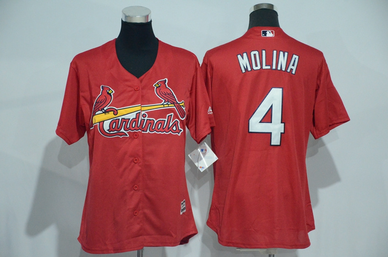 Womens 2017 MLB St. Louis Cardinals 4 Molina Red Jerseys
