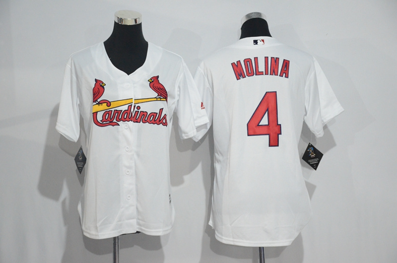 Womens 2017 MLB St. Louis Cardinals 4 Molina White Jerseys