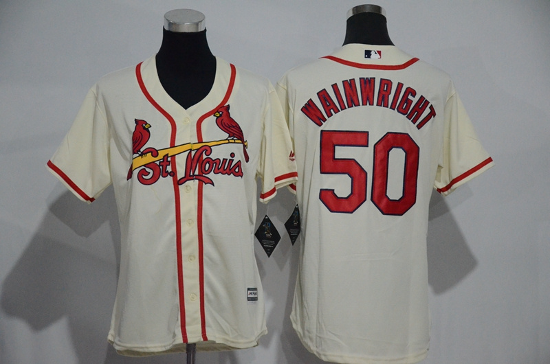 Womens 2017 MLB St. Louis Cardinals 50 Wainwright Cream Jerseys