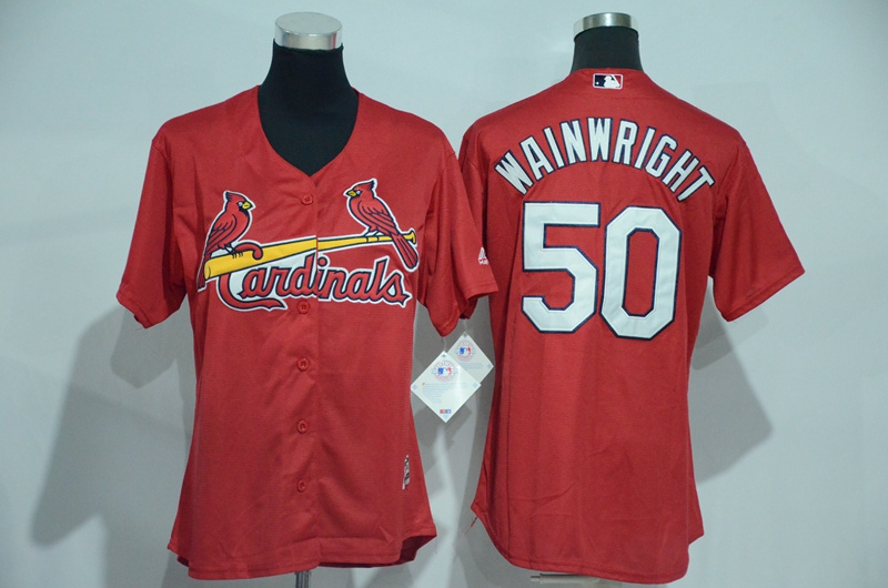 Womens 2017 MLB St. Louis Cardinals 50 Wainwright Red Jerseys