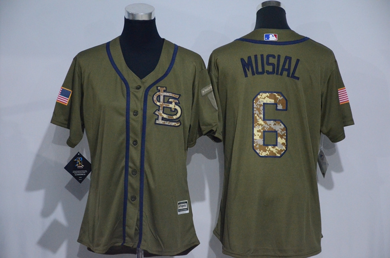 Womens 2017 MLB St. Louis Cardinals 6 Musial Green Salute to Service Stitched Baseball Jersey