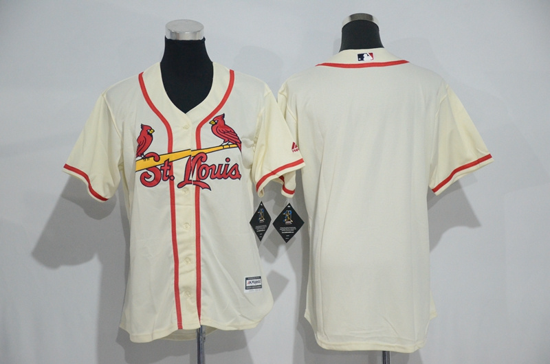 Womens 2017 MLB St. Louis Cardinals Blank Cream Jerseys