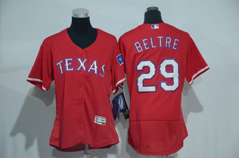 Womens 2017 MLB Texas Rangers 29 Beltre Red Elite Jerseys