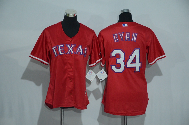 Womens 2017 MLB Texas Rangers 34 Ryan Red Jerseys