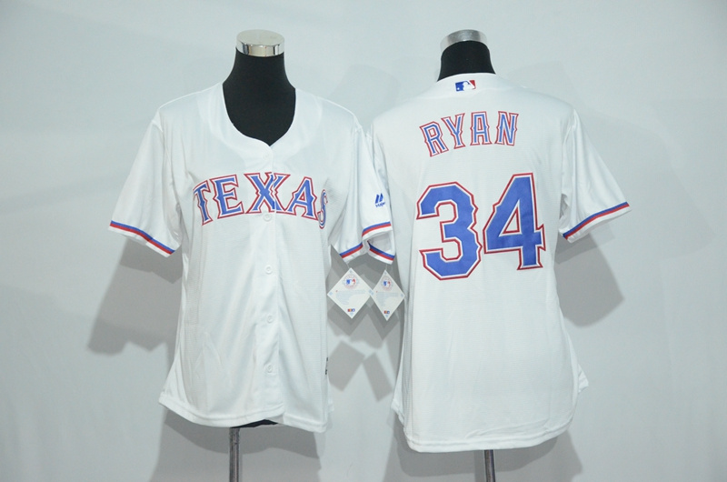 Womens 2017 MLB Texas Rangers 34 Ryan White Jerseys