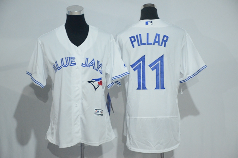 Womens 2017 MLB Toronto Blue Jays 11 Pillar White Elite Jerseys
