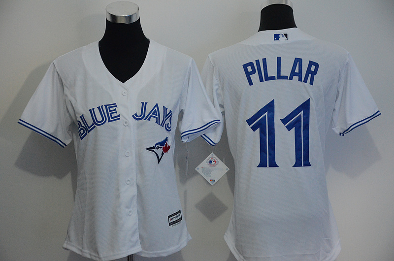Womens 2017 MLB Toronto Blue Jays 11 Pillar White Jerseys