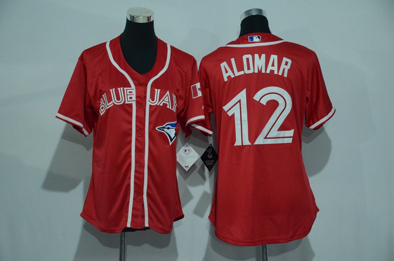 Womens 2017 MLB Toronto Blue Jays 12 Alomar Red Jerseys
