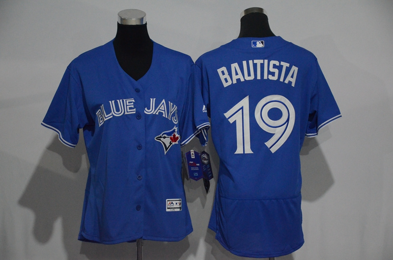 Womens 2017 MLB Toronto Blue Jays 19 Bautista Blue Elite Jerseys