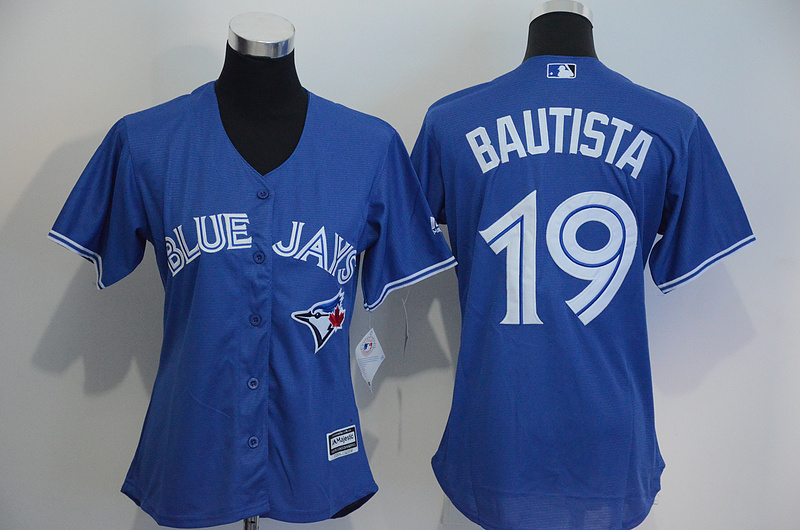 Womens 2017 MLB Toronto Blue Jays 19 Bautista Blue Jerseys