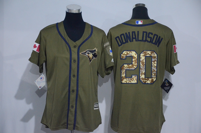 Womens 2017 MLB Toronto Blue Jays 20 Donaldson Green Salute to Service Stitched Baseball Jersey