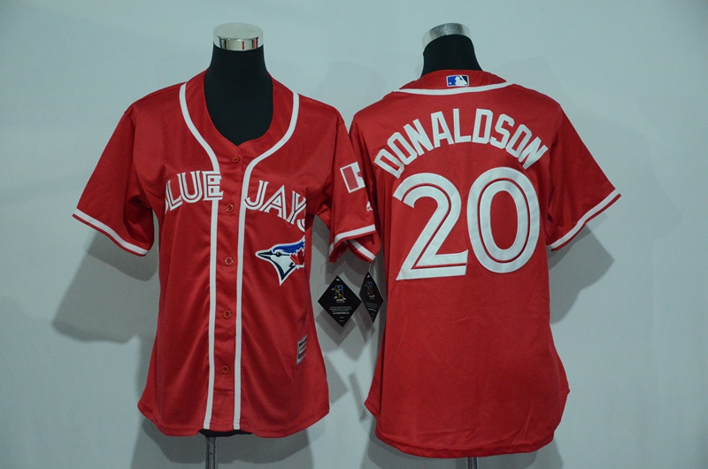 Womens 2017 MLB Toronto Blue Jays 20 Donaldson Red Jerseys
