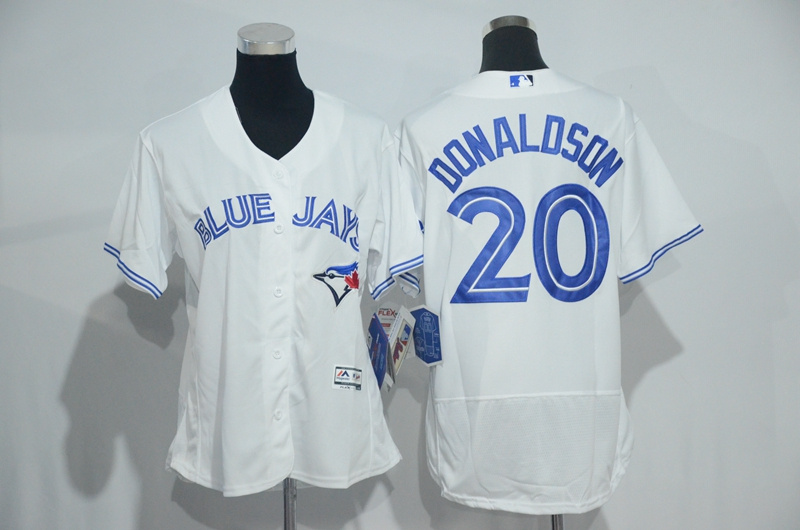 Womens 2017 MLB Toronto Blue Jays 20 Donaldson White Elite Jerseys
