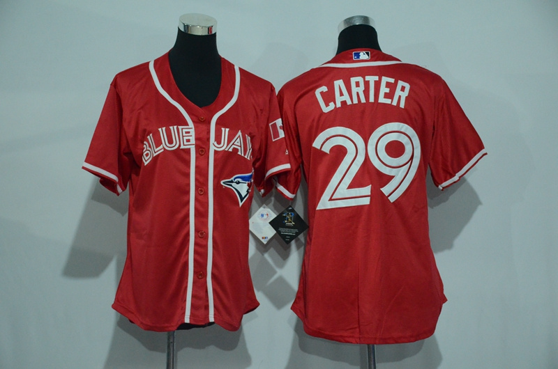 Womens 2017 MLB Toronto Blue Jays 29 Carter Red Jerseys