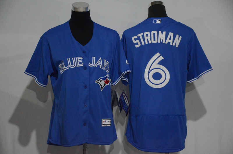Womens 2017 MLB Toronto Blue Jays 6 Stroman Blue Elite Jerseys